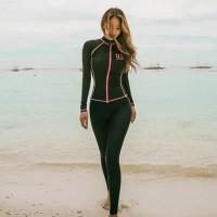 Baju Renang Wanita Rashguards Lengan Panjang Bikini set 4 pcs Busa Bra