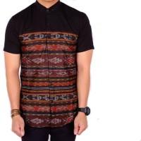 kemeja lengan pendek tribal hitam slimfit / baju cowok tribal pria