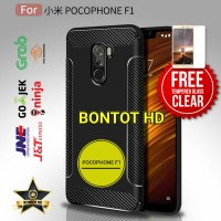 Xiaomi Pocophone F1 Case Carbon Matte Armor + Tempered Glass Clear