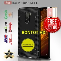Xiaomi Pocophone F1 Casing Carbon Case + Tempered Glass Full Layar Hp