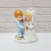 PATUNG PENGANTIN BERDIRI PASANGAN BUNGA - TOPPER WEDDING CAKE PMW5