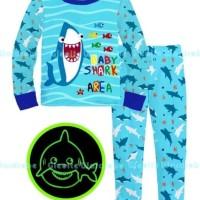 Harga piyama baju tidur anak laki cowok gw 282 shark biru glow in the | Pembandingharga.com