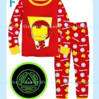 Harga piyama baju tidur anak laki cowok gw 292 iron man glow in the | Pembandingharga.com