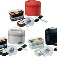 Lock n lock Lunch Box 3 Pcs with Bag & Spoon Fork Set grey locknlock