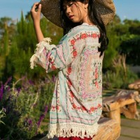 Womens Floral Loose Tassels Shawl Kimono Cardigan Coat Jacket Wrap Top