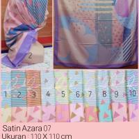 Jilbab Segi Empat Satin Motif Bunga - seri : AZARA 07