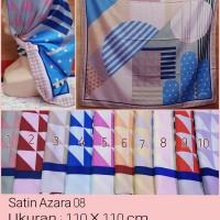 Jilbab Segi Empat Satin Motif Bunga - seri : AZARA 08