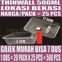 Thinwall 500ml 25 pcs Kotak Panjang Plastik Per Pack Gojek Bekasi