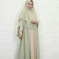 Gamis Fitri Melon busui ceruti syar'i nyaman hijab alila