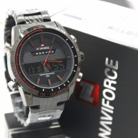 ORI JAM TANGAN NAVIFORCE BLACK RANTAI NF84 DUAL TIME ORIGINAL