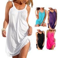 Dress Mini Pendek Casual Tanpa Lengan untuk Pesta Malam / Pantai /