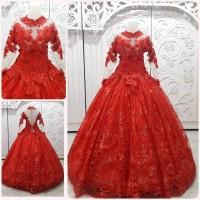 gaun kebaya barbie merah / fanta full brukat dress pengantin muslimah
