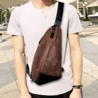 New Tas Selempang Pria Kulit Import / Chest Bag Shoulder Bag Keren