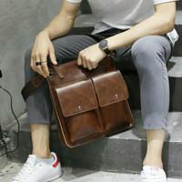 Tas Slempang Pria Kulit Impor Korea / Messenger Bag Premium Kerja