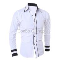 Promo Conbo hem randhy white OT pakaian pria kemeja slim fit warna pu
