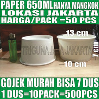 Paper bowl tebal 650ml mangkuk kertas tahan microwave 650 ml Gojek Jkt
