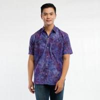 Batik Pria Tampan - Kemeja Slimfit Abs Purple Mozaic Square