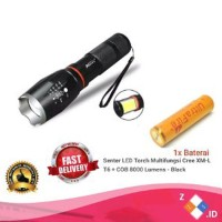 PAKET Senter LED Torch Multifungsi Cree XM-L T6 COB 8000 Lumen Diskon