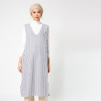 SAYEE Byul Striped Sleeveless Dress Black