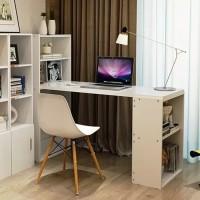 Meja Komputer Meja Kerja Meja Belajar Meja Kantor Dengan Rak - Putih