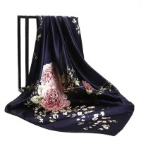 Navy Blue Hijab Shawl Scarf Women's Satin Fashion China Roses Flower