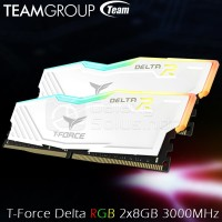 TEAM T-Force Delta RGB (2x8) 16GB DDR4 kit 3000MHz - White