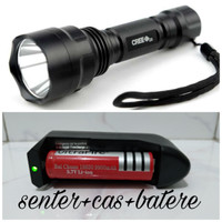 paket senter taffware C8 LED waterproof CREE Q5 3800L + bat + charger