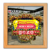 bunga papan happy wedding / pernikahan murah full bunga