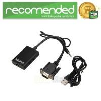 Kabel Adapter Converter VGA Male ke HDMI 1080P dengan Audio - Hitam