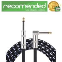 Kabel Gitar Bass Elektrik Braided - 600 CM - Hitam