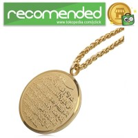 Kalung Medal Stainless Steel Model Ayat Kursi - Gold