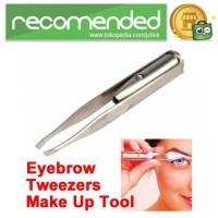 Pinset Pencabut Alis Eyebrow Tweezer with LED Light - Silver