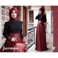 Baju Gamis Syari Muslim Jasmine Gliter Set Murah