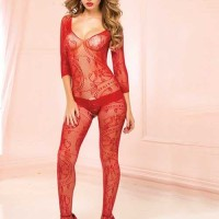 Stocking Full Body Open Crotch Leaf Lace Red