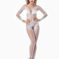 Stocking Full Body Open Crotch Leaf Lace White