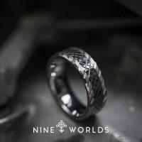 Nine Worlds Ring Black Silver complex gear TUNGSTEN Pria Wanita