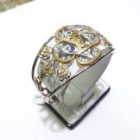 Gelang bulat oval emas putih 75% berat 20 gram diameter 5.4cm & 5.5cm