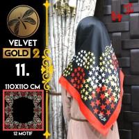 Jilbab Segi Empat Satin Black By Golden 2 / Velvet gold2 - Design 11