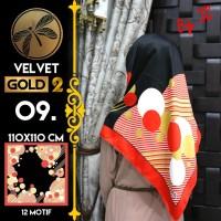 Jilbab Segi Empat Satin Black By Golden 2 / Velvet gold2 - Design 09