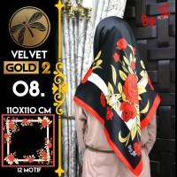 Jilbab Segi Empat Satin Black By Golden 2 / Velvet gold2 - Design 08