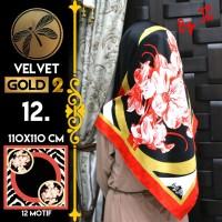 Jilbab Segi Empat Satin Black By Golden 2 / Velvet gold2 - Design 12