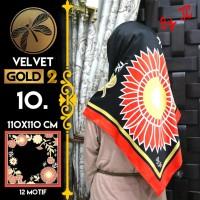 Jilbab Segi Empat Satin Black By Golden 2 / Velvet gold2 - Design 10