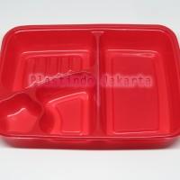 Bento Lunch Box Tempat Makan Bento 4 Sekat Berwarna Dengan Tutup Mika