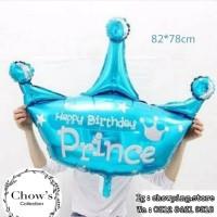 Balon Foil Mahkota Polos Happy Birthday Prince BIRU Jumbo