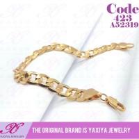 Yaxiya gelang rantai Polos dewasa perhiasan imitasi warna gold 18K 423