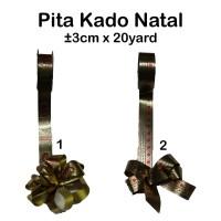 Pita Kado Natal ±3cm x 20yard - christmas ribbon - hadiah natal