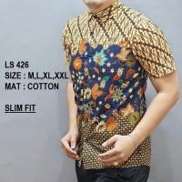 Harga baju kemeja batik slimfit cowok pria casual formal luigibatani ls | Pembandingharga.com