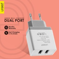 Kepala Charger Uneed Compact Plug 2 Port UCH106 Fast Charging 2.1A USB