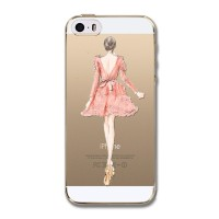 SOFT CASE HP SILICONE TIPIS IPHONE 5C - PINK DRESS GIRL LADY