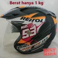 Ori - Helm 2 kaca (Double Visor) Murah Black doff Marquez Repsol Honda